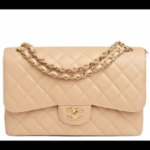 CHANEL Jumbo Caviar Tan Boy Bag